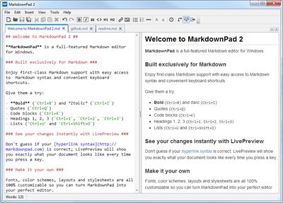 Markdown编辑器MarkdownPad