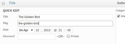 在帖子页面上快速编辑更改post slug
