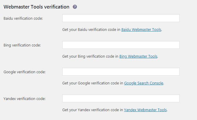 yoast网站管理员工具标签