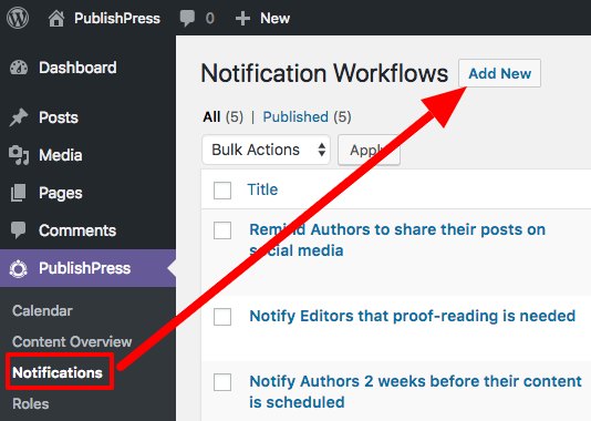 notifications from the publishpress plugin for WordPress