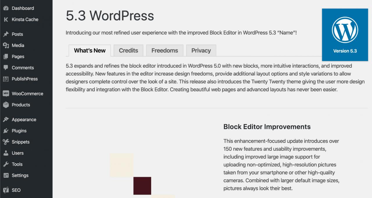 WordPress 5.3欢迎屏幕