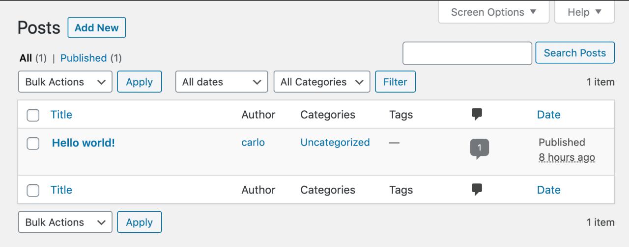 WordPress 5.3中的帖子屏幕