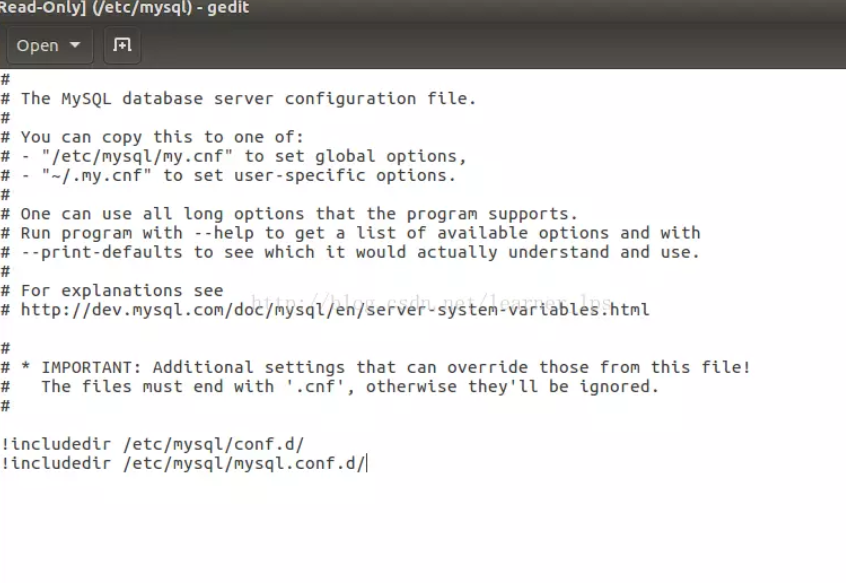mysql配置文件ubuntu
