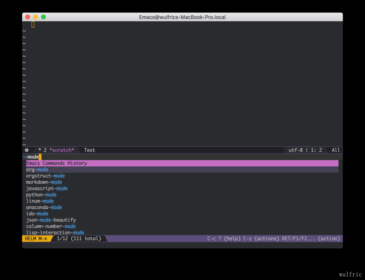 emacs major mode