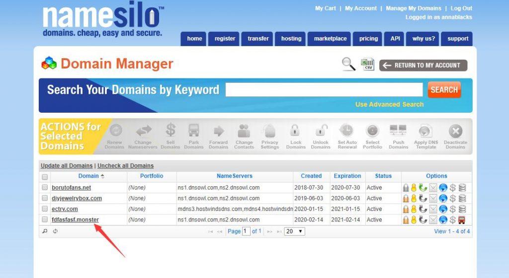 namesilo domain manager