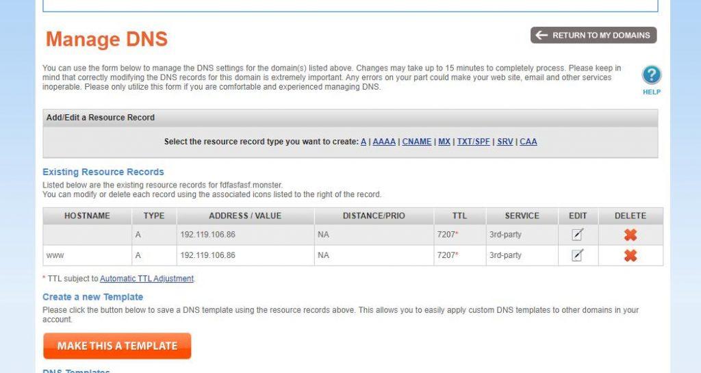 namesilo domain address