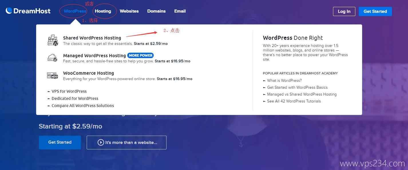 选择 WordPress 主机或者普通虚拟主机