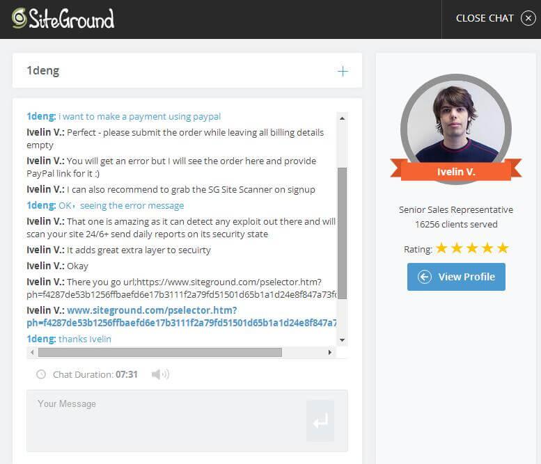 联系SiteGround客服paypal付款